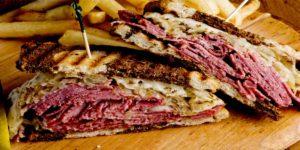 Reuben sandwich with sauerkraut and cheese